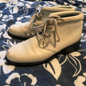 Vintage Cream Leather Ankle Boots